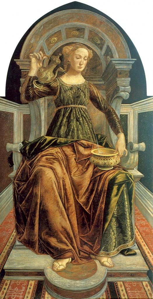 """Die """"Mäßigung"""" von Piero del Pollaiolo um 1470. Eine von sechs Tugendallegorien, die der Maler aus Florenz geschaffen hat"""