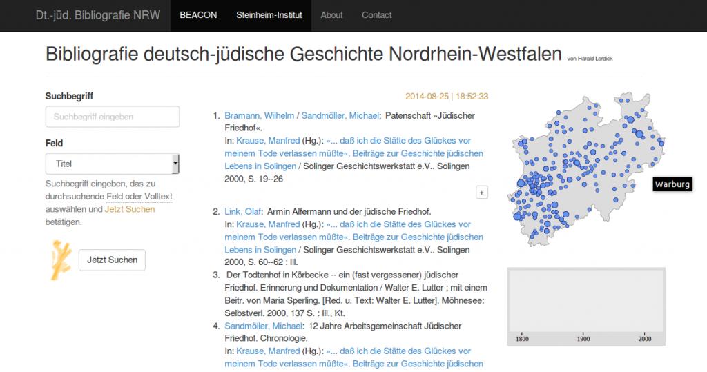 Bibliografie deutsch-jüdische Geschichte Nordrhein-Westfalen (Screenshot)