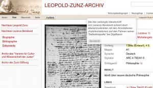 Abb. 1: Digitalisierte Briefe von Lazarus Bendavid im Leopold-Zunz-Archiv