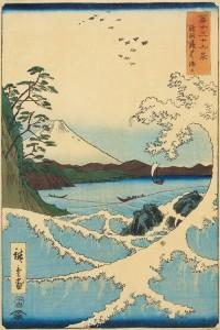 Hiroshige, « La mer à Satta, dans la province de Suruga » (Suruga Satta kaijô)