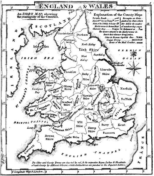 Historic Counties of England and Wales, (c) Wikipedia PUBLIC DOMAIN