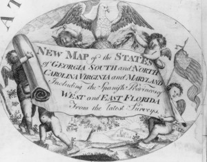 Cartouche showing cherubs celebrating the founding of the new nation_CUT