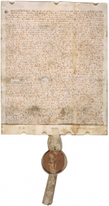 Magna Carta (1297 version with seal, owned by David M. Rubenstein), (c) public domain, WIKIMEDIA