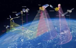 Vue d'artiste d'une constellation de satellites d'observation A-Train. Crédits : NASA