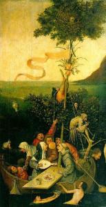 La nef des fous, par Jérôme Bosch, vers 1500, Musée du Louvre (source : Wiki)