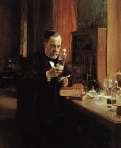 Pasteur dans son laboratoire (source : page Pasteur, Wikipédia)