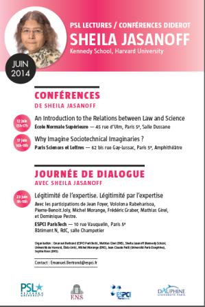 Sheila Jasanoff, Harvard University, PSL Lectures - Conférences Diderot, 12, 17, 23 juin