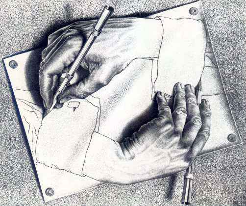 Intertextualité. Drawing Hands, de M. C. Escher, 1948 (crédits : http://www.wikiart.org/)