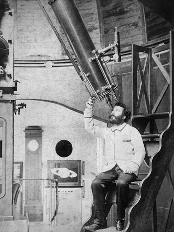 Camille Flammarion à Juvisy, au milieu des années 1880 (crédits : Wikimedia Commons)
