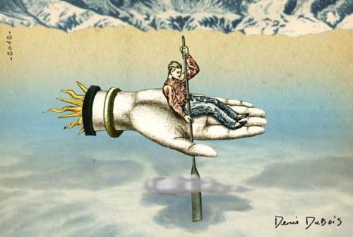 Montage de Denis Dubois (source : leblogdukitsch.com/2013/01/21/illustrations-contemporaines-inspirees-destampes-retro/)