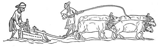 Charrue à soc, ca. 1330 (source : Wikipédia)