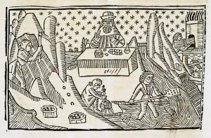 """""""A l'extrémité gauche de la composition, un mineur extrait à l'aide d'une pioche un minerai. Deux sacs semblent contenir le fruit de son labeur. Au centre de la gravure, un homme pêche alors qu'au dessus d'eux un homme, probablement un alchimiste, est en plein travail. Un panier, du minerai et une fiole sont placés sur une table, située devant lui. A droite de l'illustration, un homme alimente le feu d'un four. En arrière plan, un ciel constellé d'étoiles à été représenté."""" Source : Barthélémy l'Anglais (12..-1272). Auteur du textepomme. In Peligry, Christian. L'imprimerie toulousaine au XVe siècle. Catalogues régionaux des incunables des bibliothèques publiques de France, III, Bibliothèques de la région Midi-Pyrénées. Bordeaux, Société des bibliophiles de Guyane (1982)."""