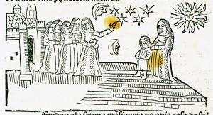 """""""Au sommet d'une colline, une femme montre les astres à un groupe de jeunes filles, placées derrière elle. La lune, quelques étoiles et le soleil ont été représentés dans le ciel. A droite de l'image, un jeune garçon soutenu par une femme, probablement sa mère, semble lécouter la leçon."""" Source : Torre, Alfonso de la (1410?-1460?). Auteur du textepomme."""