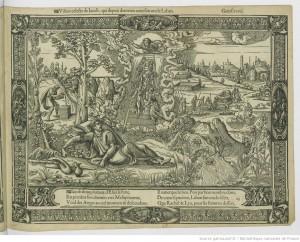 """""""Histoire de Jacob"""", estampe, 16e siècle, gravure en bois ; 275 x 430 mm (bois central). Bibliothèque nationale de France, département Estampes et photographie. http://gallica.bnf.fr/ark:/12148/btv1b550019331"""