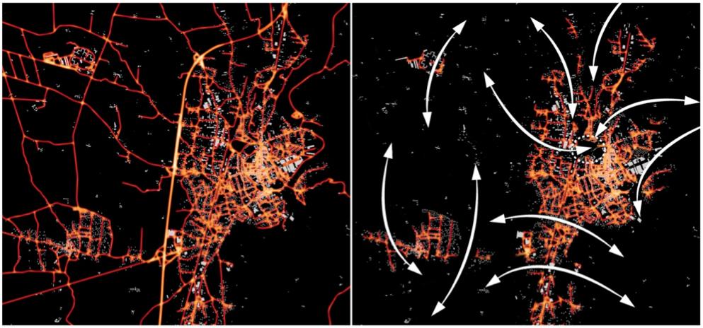 Figure 5. Défragmenter la matrice écopaysagère nocturne, augmenter la connexité des espaces et la connectivité écologique pour éviter l'insularisation en créant des corridors noirs, autour de – mais aussi dans – la ville (les deux images ci-dessus sont des simulations). Challéat S. – Laboratoire ThéMA.
