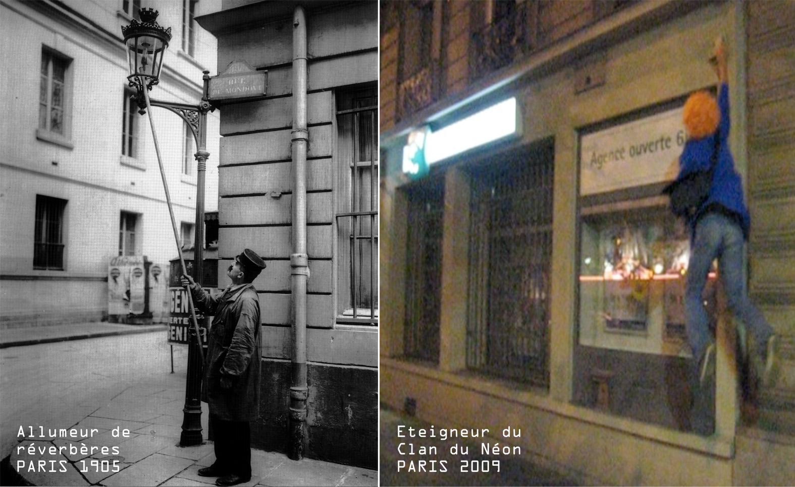 Contestation de l'éclairage artificiel des villes.« Clin d'œil historique » [5], ou l'émergence de nouvelles formes de contestation de l'éclairage artificiel des villes. Image : clanduneon.over-blog.com.