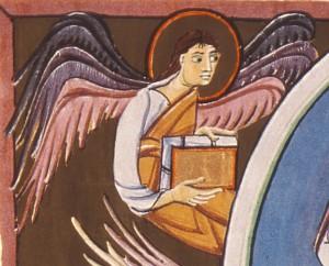 Ein geflügelter Mensch (Engel?) gilt als Symbol für den Evangelisten Matthäus. Das Bild zeigt ein Detail aus der Bamberger Apokalypse (Auftraggeber: Otto III. oder Heinrich II. [Public domain], via Wikimedia Commons)