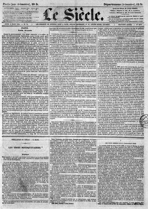 Un exemple emblématique du roman-feuilleton : le premier épisode des Trois Mousquetaires dans le Siècle du 14 mars 1844.