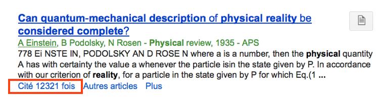 La fonction «Cité par» de Google Scholar appliquée à l'article culte de la physique quantique, EPR…