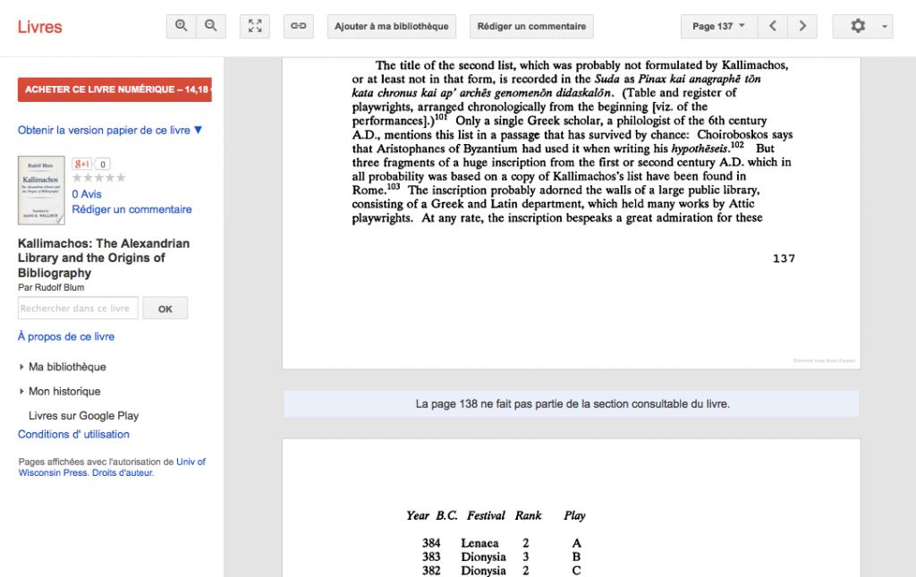 Page non consultable de Google Books