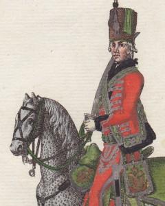 Uniformtafel 1796: 155. Die K.K. Ungarische adeliche Leib Garde in Kampagne Uniform (Detail) | Foto: Leonard Dorn