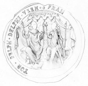 1558_Sceau delphinal de François II et Marie Stuart _BnF