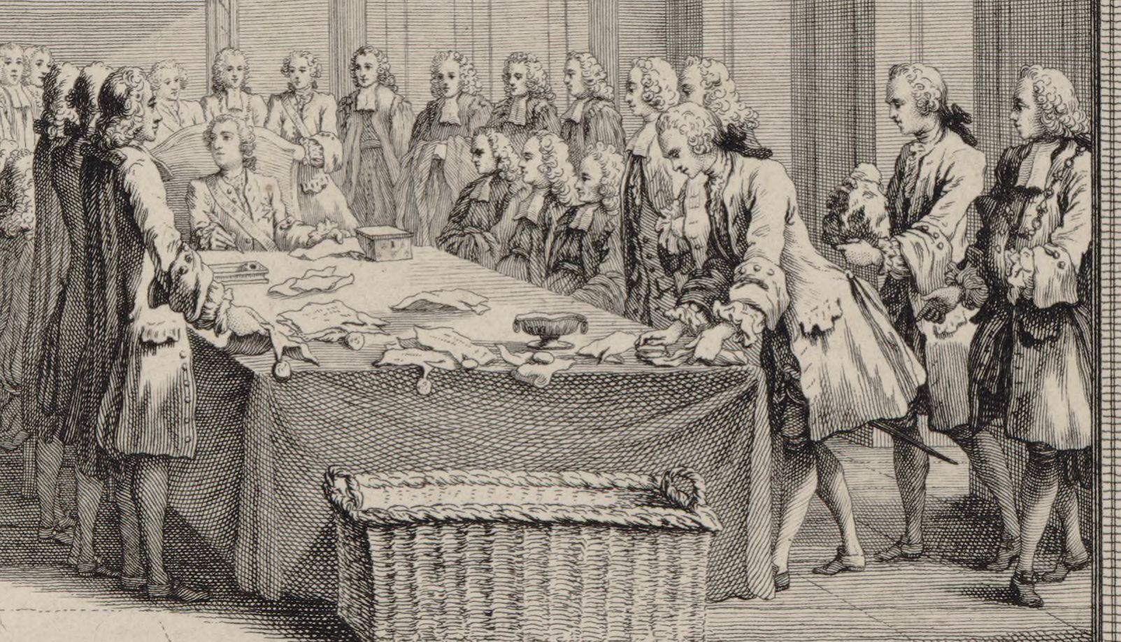 Louis XV tenant le sceau en personne pour la première fois, 1757. Détail.