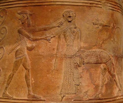 Fig. 2 – Amphore cylcladique à relief, de Thèbes. 675-665 av. J.-C. Musée du Louvre, n° inv. CA 795 - © Wikimedia Commons, Photo by Marie-Lan Nguyen -http://commons.wikimedia.org/wiki/File%3APerseus_Medusa_Louvre_CA795.jpg