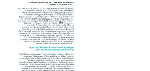 """Séminaire """"DURABILITE"""" - Formation des Architectes -Ecole Nationale d'Architecture de Marrakech 2016/17"""