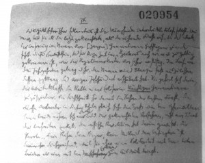 """Thesis IX of """"Über den Begriff der Geschichte,"""" Hannah Arendt manuscript, Walter Benjamin Archiv Berlin, Ms 466r; a reedited version of this thesis later became thesis XII."""