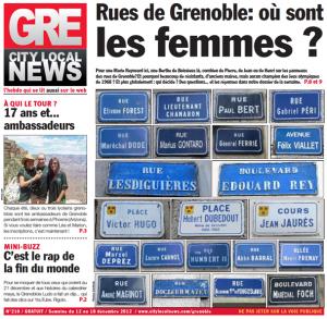 Capture de la couverture du magazine gratuit Grenews n°210 de décembre 2012.