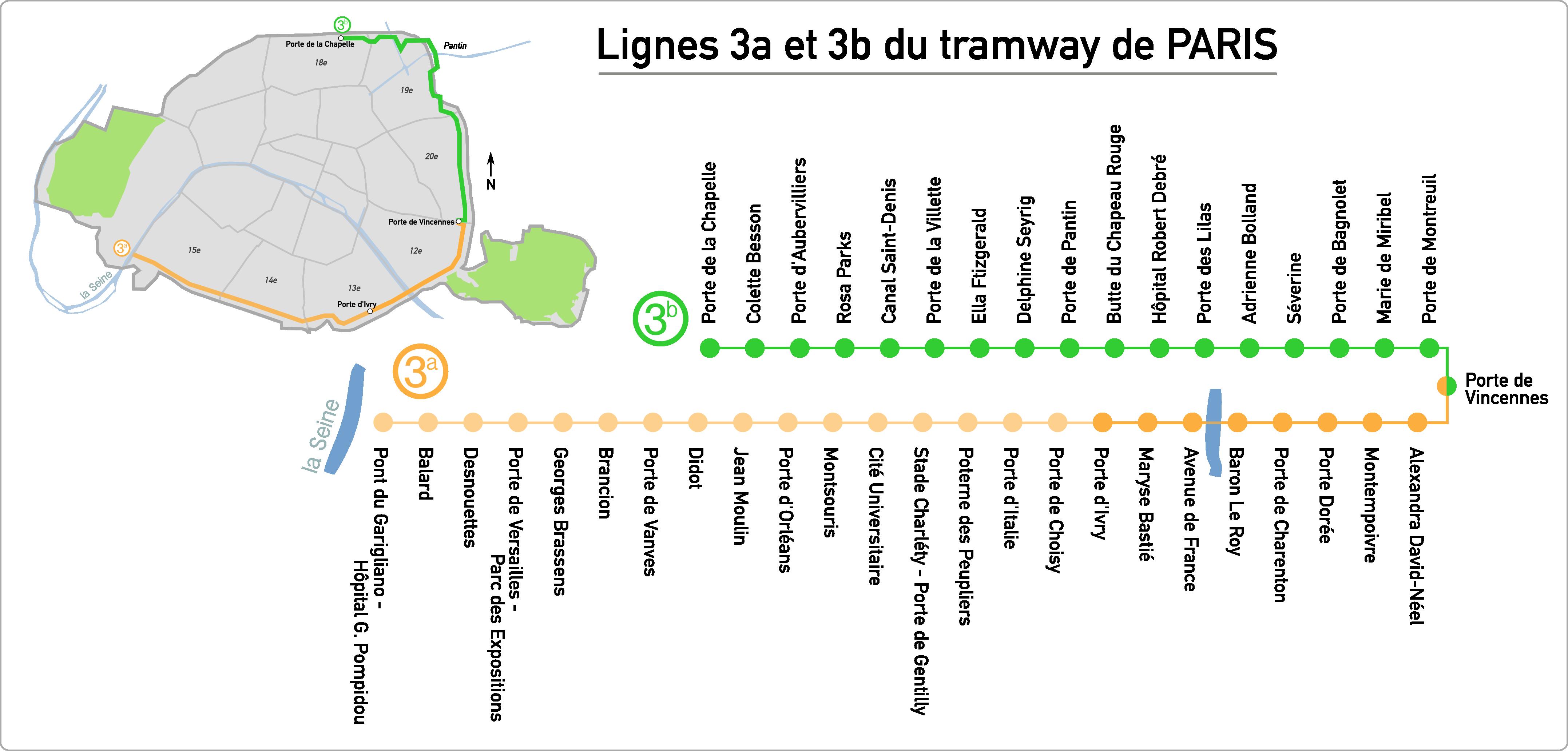 Schéma de la ligne 3 du tramway d'Île-de-France (L. D., 2015)