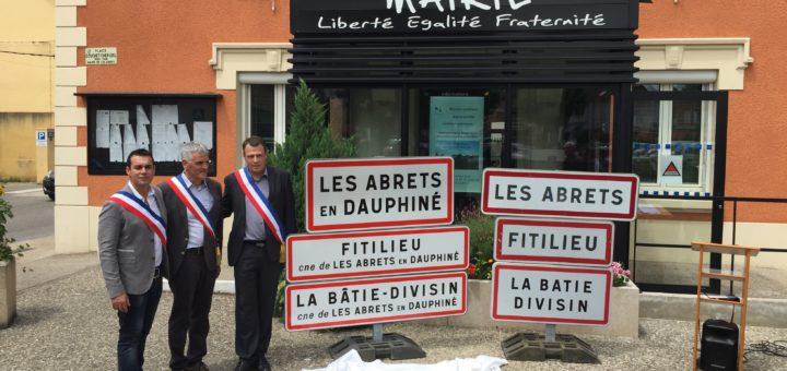 Exposition de la signalétique de la commune nouvelle des Abrets en Dauphiné et de ses communes déléguées, 2016