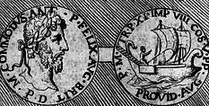 Médaille de Commode expliquée dans les Recherches curieuses d'antiquité par Jacob Spon