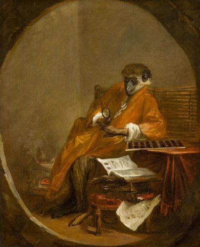 Le Singe antiquaire (vers 1726, par Jean Siméon Chardin, musée du Louvre. On put y voir une critique de la curiosité des médailles. Le fétichisme du médailliste entouré de ses pièces et de ses livres.