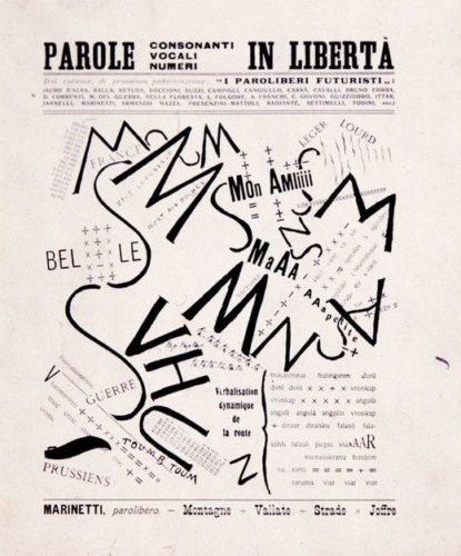 """Image représentant une page du manifeste de Marinetti """"Mots en liberté"""