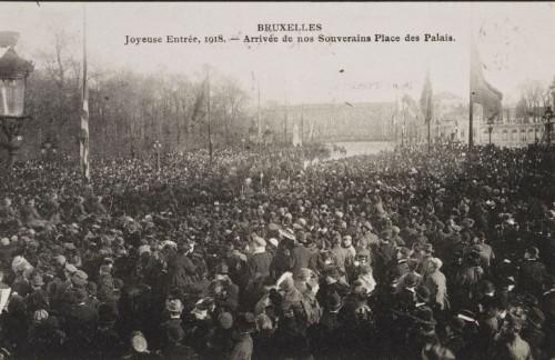 Joyeuse Entrée de los reyes belgas en Bruselas, tras la guerra de 1914-1918