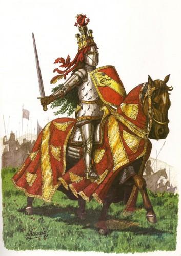 Recreación del rey Juan II con las insignias de la orden de la Banda
