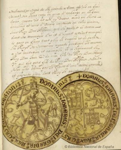 Sello de Juan I de Castilla, con las armas de la Banda