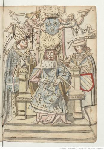 Representación simbólica de Francisco I, rodeado por dos Pares de Francia, entre los que se halla el duque de Borgoña