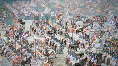 Caballeros en armas. El Escorial, Galería de las Batallas (Fotografía: RMR).