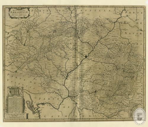 Mapa del Reino de Aragón (Juan Bautista Labaña, Amsterdam, 1633), dedicado al VIII duque de Villahermosa (Archivo de las Cortes de Aragón).