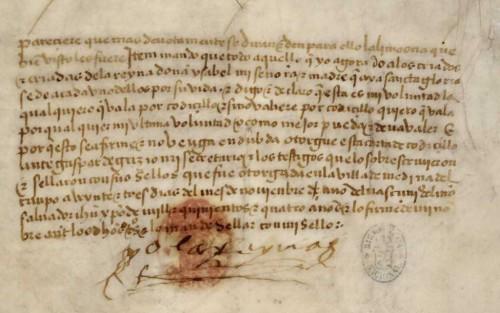 Firma de la Reina, al final del codicilo