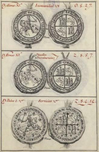 Sellos de Alfonso XI y Pedro I, en el manuscrito del coleccionista Francisco Javier de Santiago (s. XVIII)