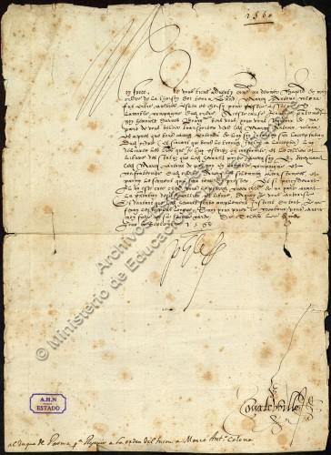 AHN, ESTADO, 7683, EXP. 60: De Felipe II al Duque de Parma, para conferir el collar del Toisón a Marco Antonio Colonna