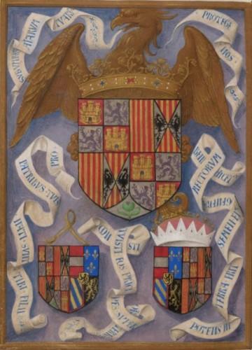 Armas de los Reyes Católicos, en el códice (BL, MS 18851)
