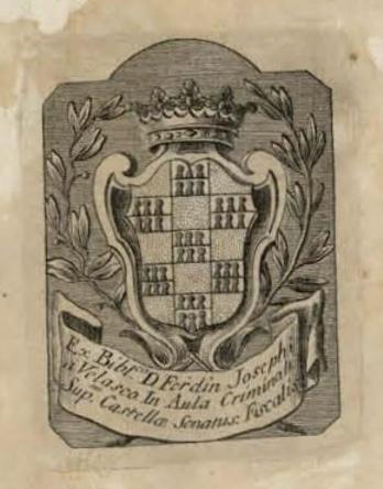 Ex libris de don Juan José de Velasco