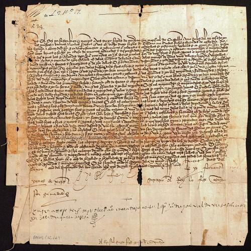 Albalá del rey Juan II dando licencia a Diego Fernández de Córdoba, Mariscal de Castilla, [I conde de Cabra], para que fundar mayorazgos (AHN/N/BAENA,C.45,D.44-46
