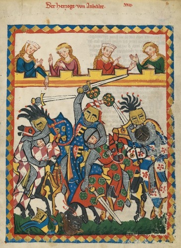 Un torneo, según el Códice Manesse (s. XIII)