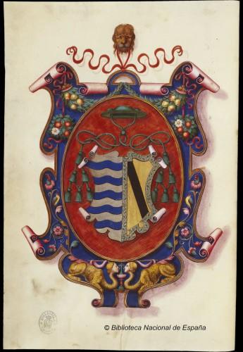 Armas del obispo de Plasencia, Vargas Carvajal, en su vesperal